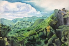 Landscape Painting, Vintage High School Art Student