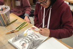 Vintage High School Student Working on Art Project